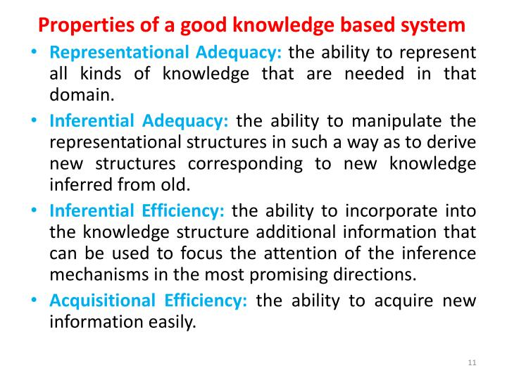 Properties of a good knowledge based system