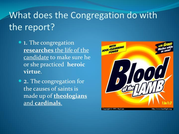 What does the Congregation do with the report?