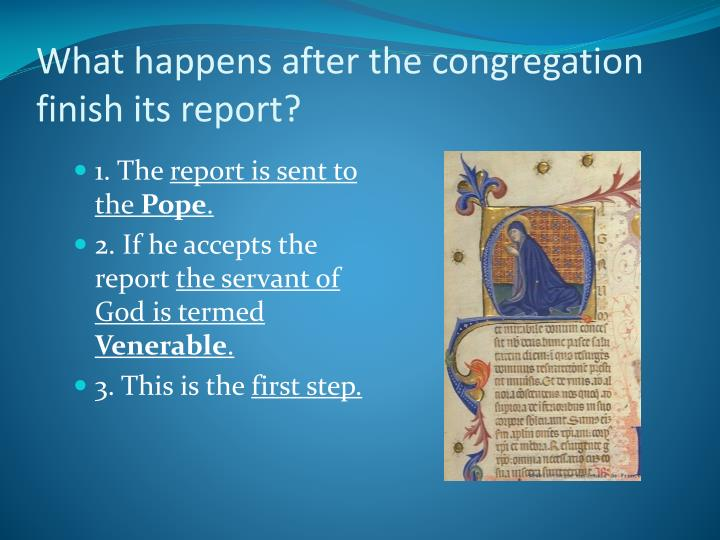 What happens after the congregation finish its report?