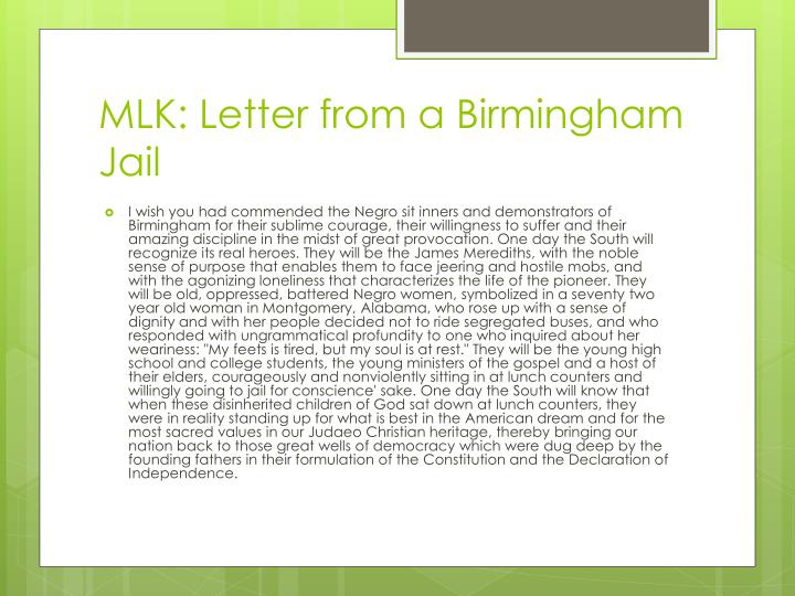 mlk letter from birmingham For whom did martin luther king jr craft his letter titled letter from birmingham jail.