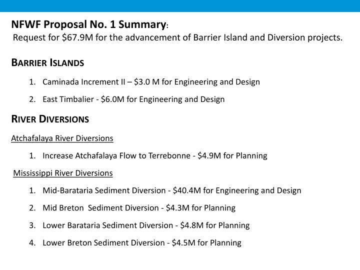 NFWF Proposal No. 1 Summary