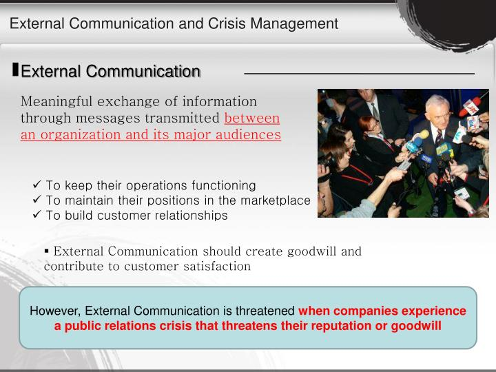 External Communication and Crisis Management