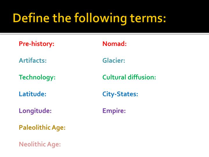 Define the following terms: