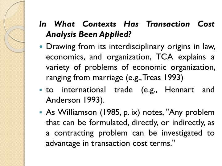 In What Contexts Has Transaction Cost Analysis Been Applied?