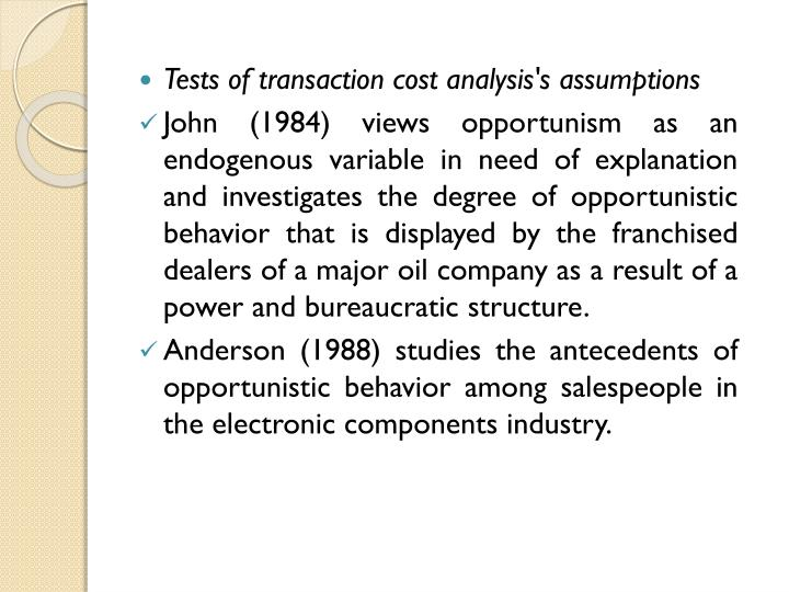 Tests of transaction cost analysis's assumptions