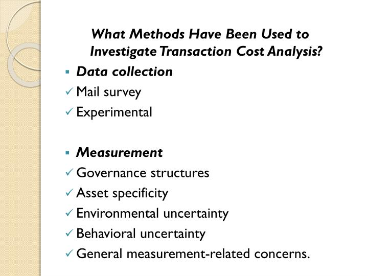 What Methods Have Been Used to Investigate Transaction Cost Analysis?