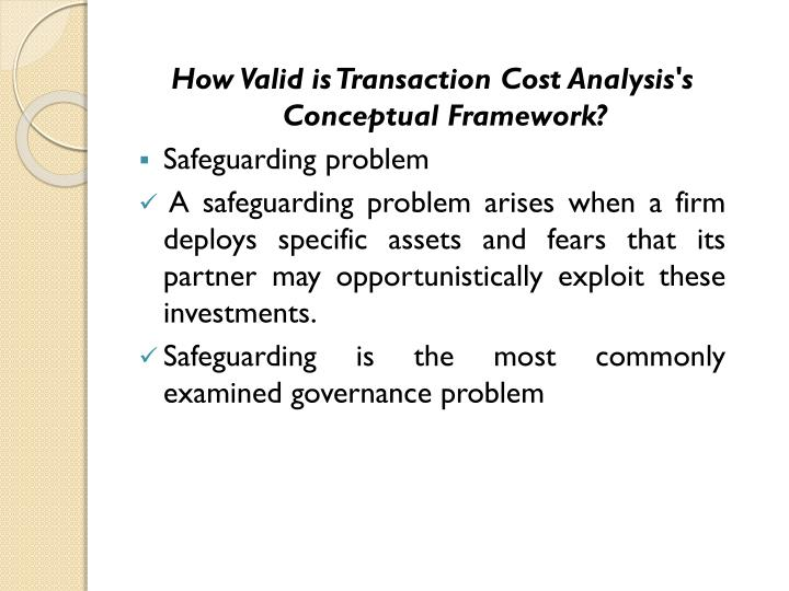 How Valid is Transaction Cost Analysis's Conceptual Framework?