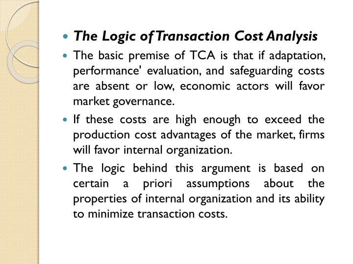 The Logic of Transaction Cost Analysis