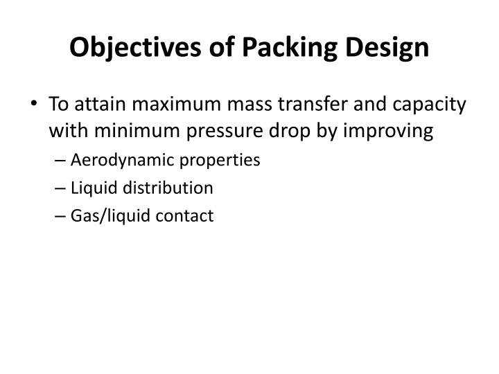 Objectives of Packing