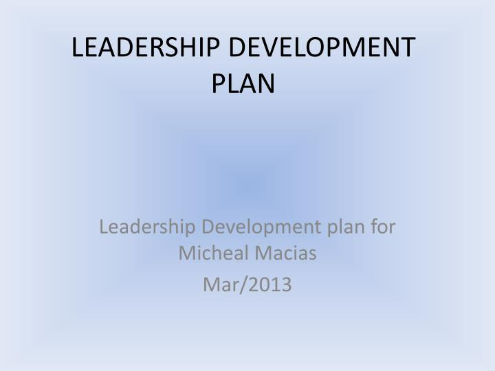 how to develop a leadership development plan