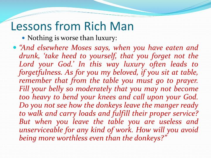 Lessons from Rich Man