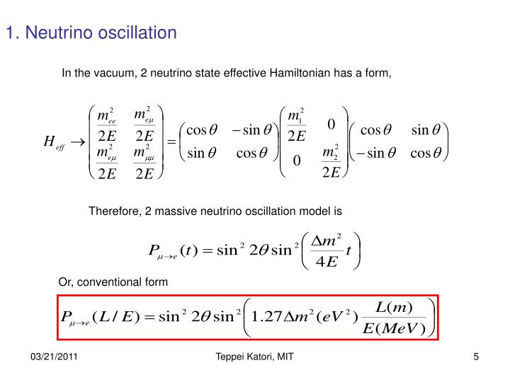 1. Neutrino oscillation