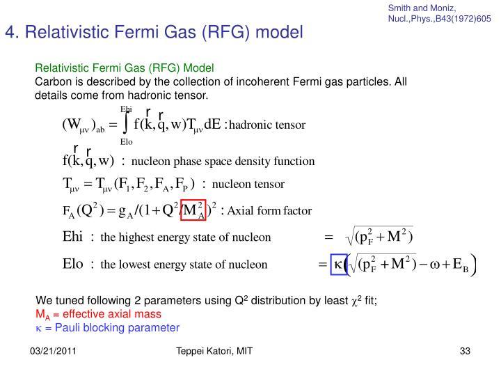 4. Relativistic Fermi Gas (RFG) model