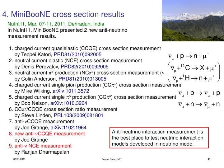 4. MiniBooNE cross section results