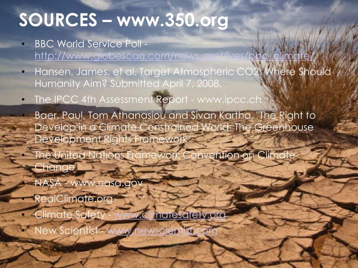 SOURCES – www.350.org