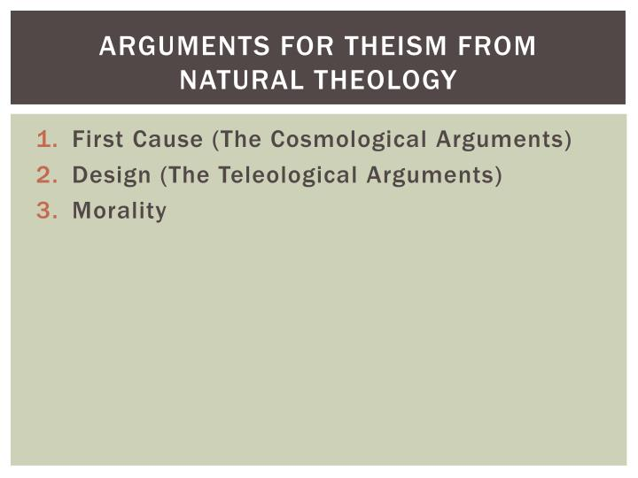 Arguments for theism from natural theology