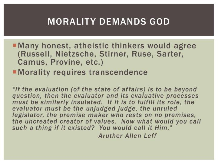 Morality Demands God