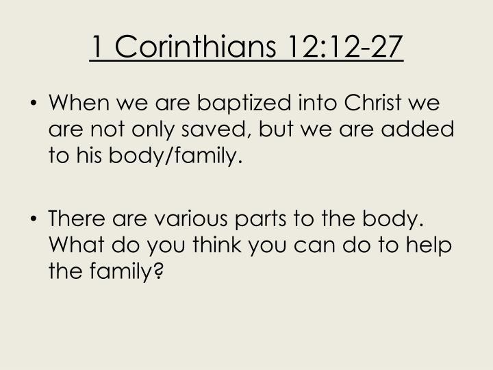 1 Corinthians 12:12-27