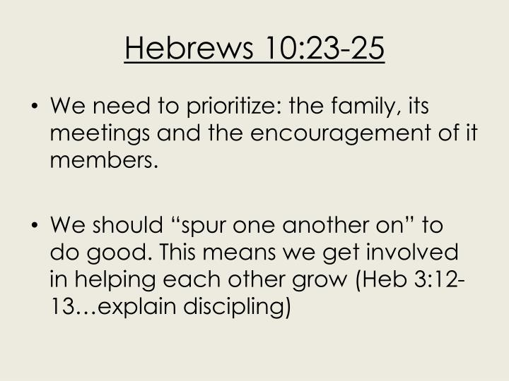 Hebrews 10:23-25