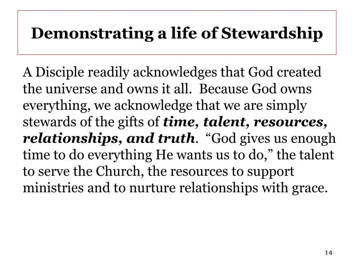 Demonstrating a life of Stewardship