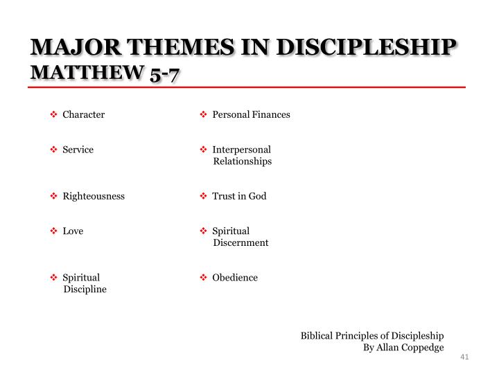 MAJOR THEMES IN DISCIPLESHIP