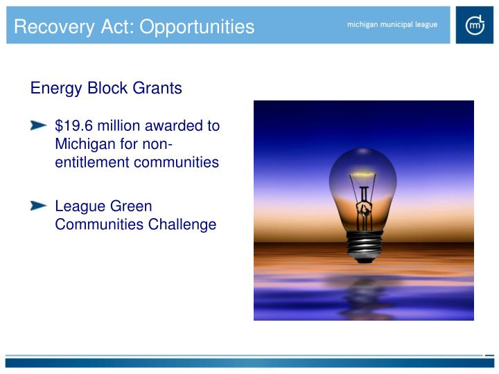 Recovery Act: Opportunities