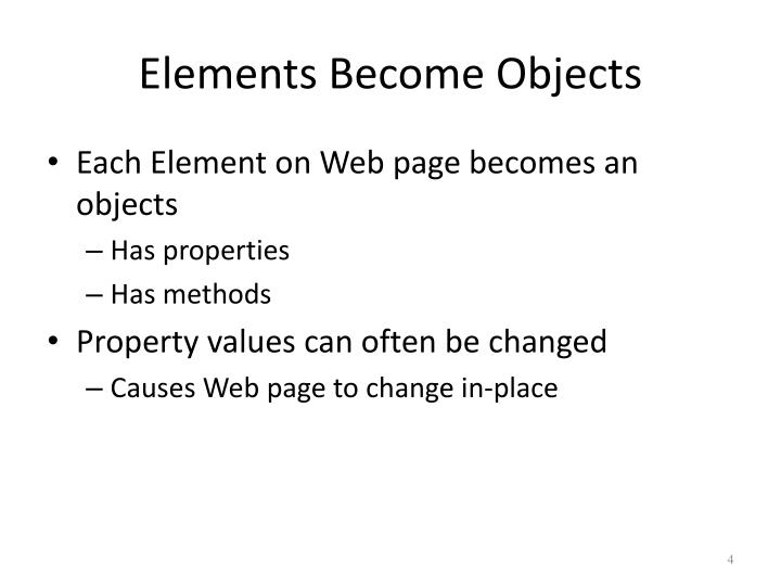 Elements Become Objects