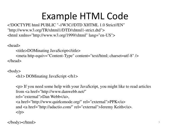Example HTML Code