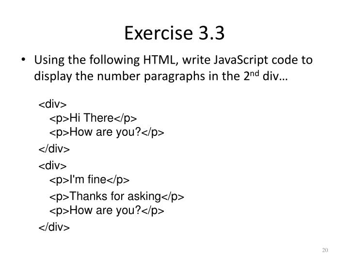 Exercise 3.3