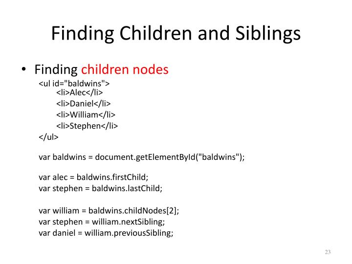 Finding Children and Siblings