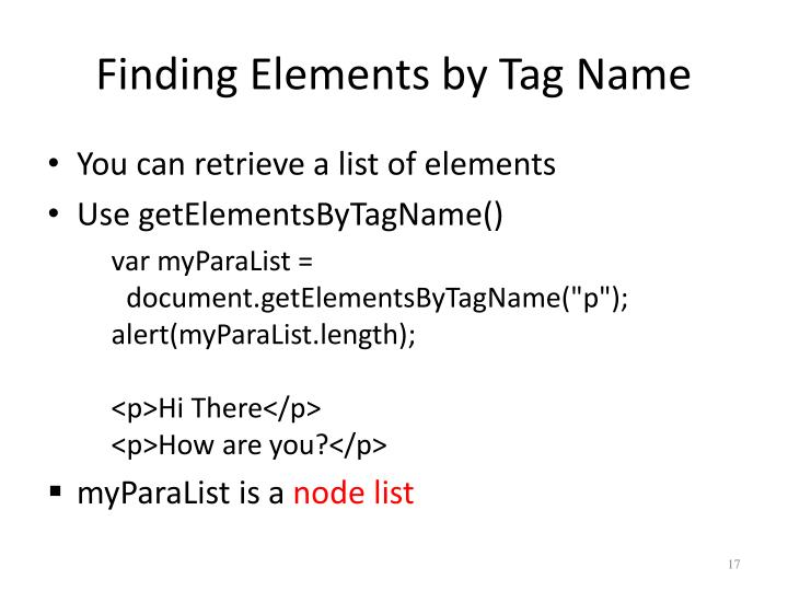 Finding Elements by Tag Name