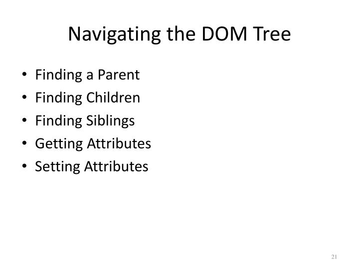 Navigating the DOM Tree