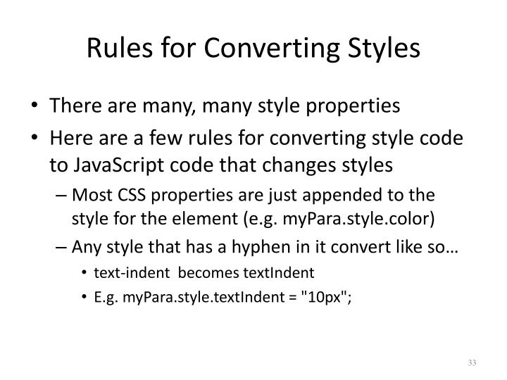 Rules for Converting Styles
