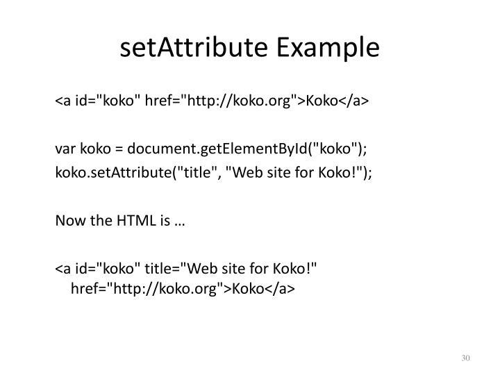setAttribute Example