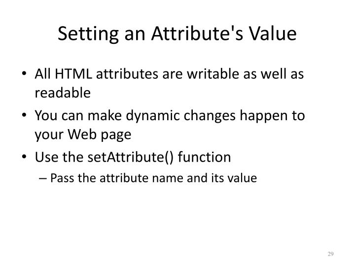 Setting an Attribute's Value
