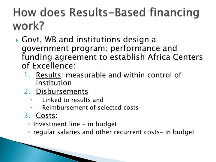 How does results based financing work