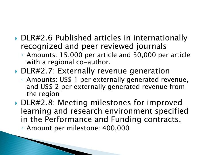 DLR#2.6 Published articles in internationally recognized and peer reviewed journals