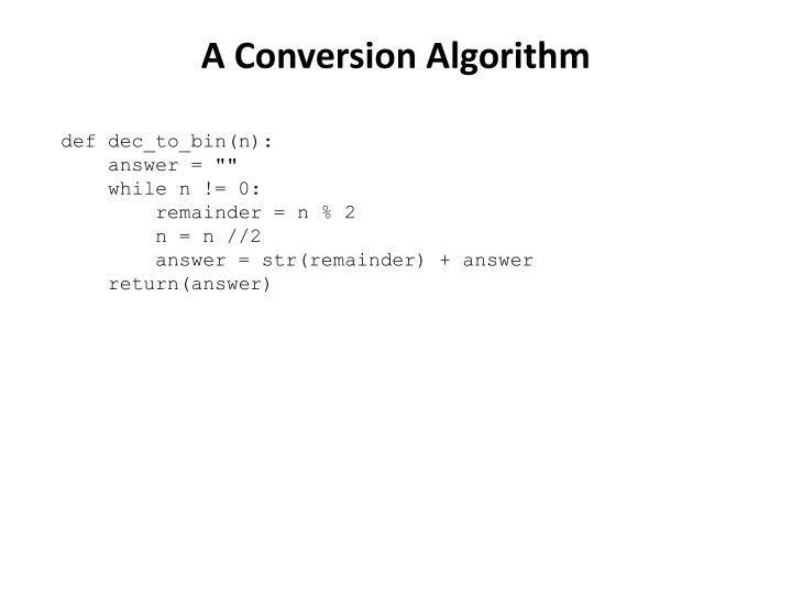 A Conversion Algorithm