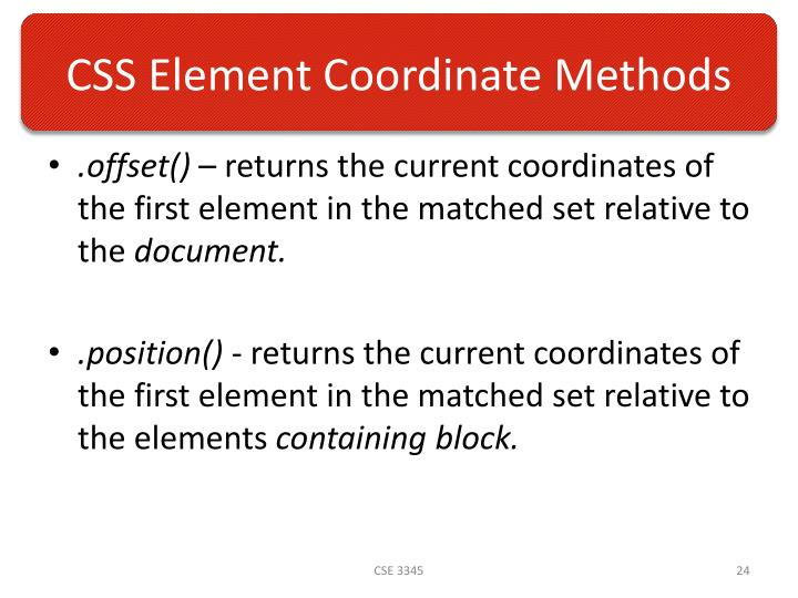 CSS Element Coordinate Methods
