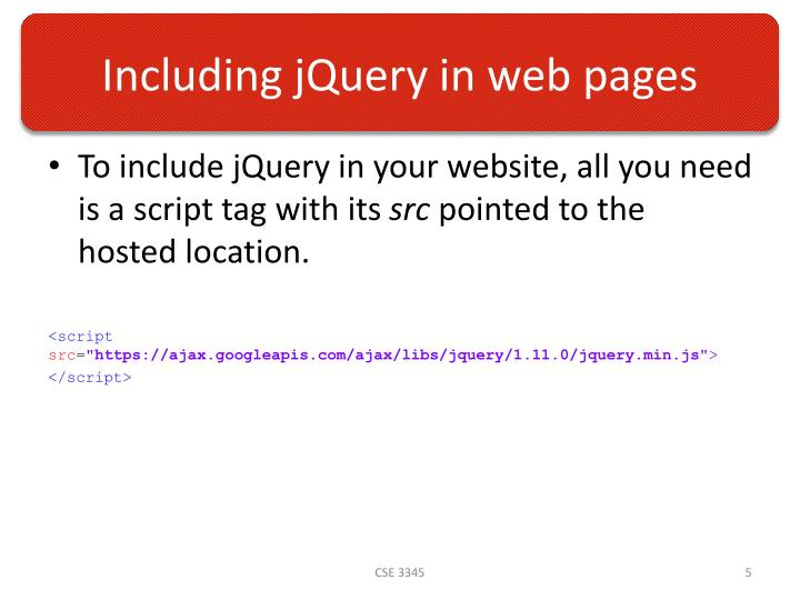 Including jQuery in web pages