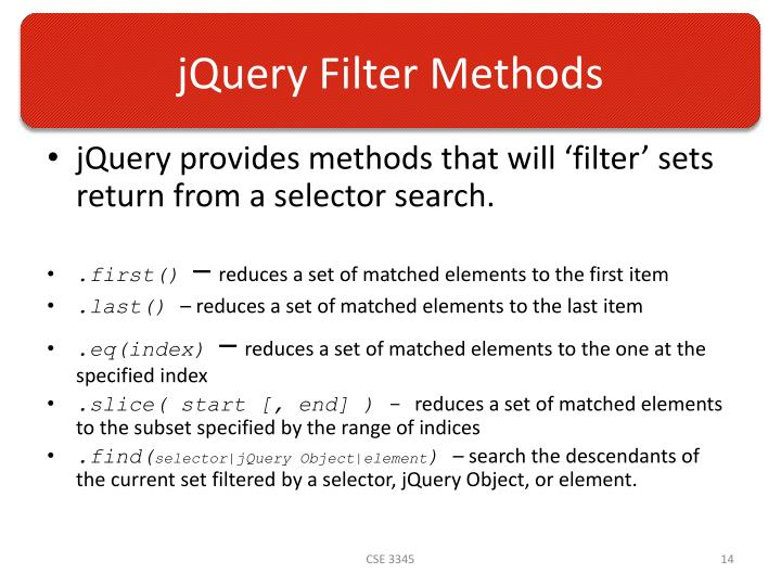 jQuery Filter Methods