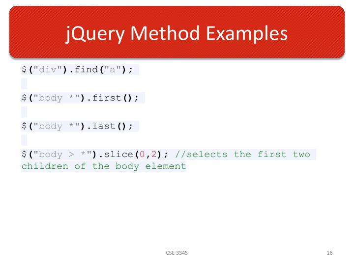jQuery Method Examples