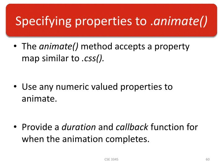 Specifying properties to .