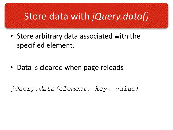 Store data with