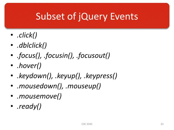 Subset of jQuery Events
