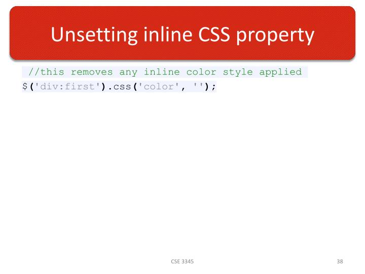 Unsetting inline CSS property