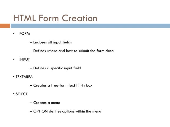 HTML Form Creation