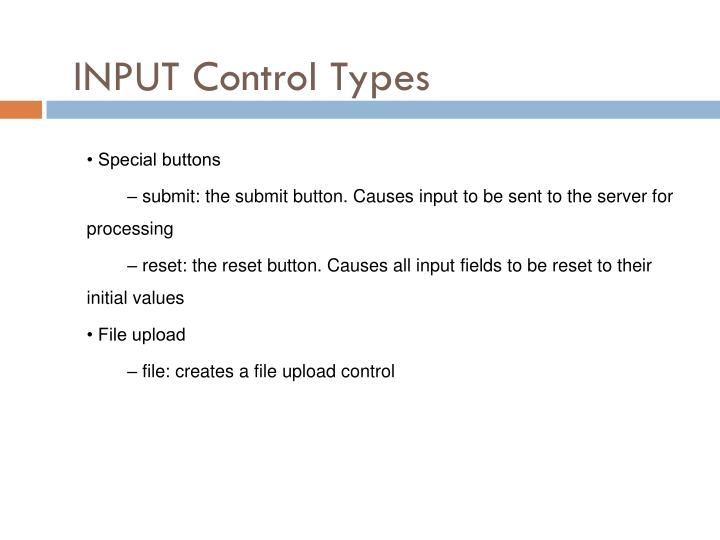 INPUT Control Types