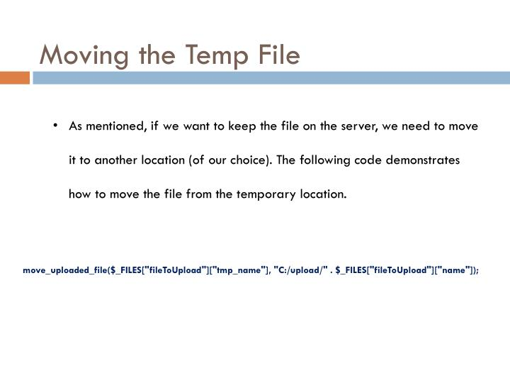 Moving the Temp