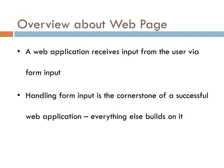 Overview about Web Page